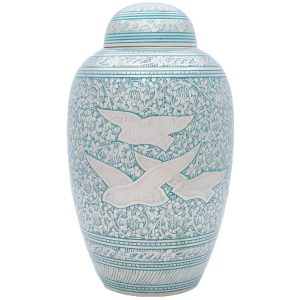OKC Going Home urn with doves in blue
