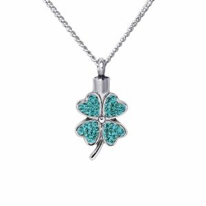 Oklahoma City Cremation jewelry with Shamrock pendant